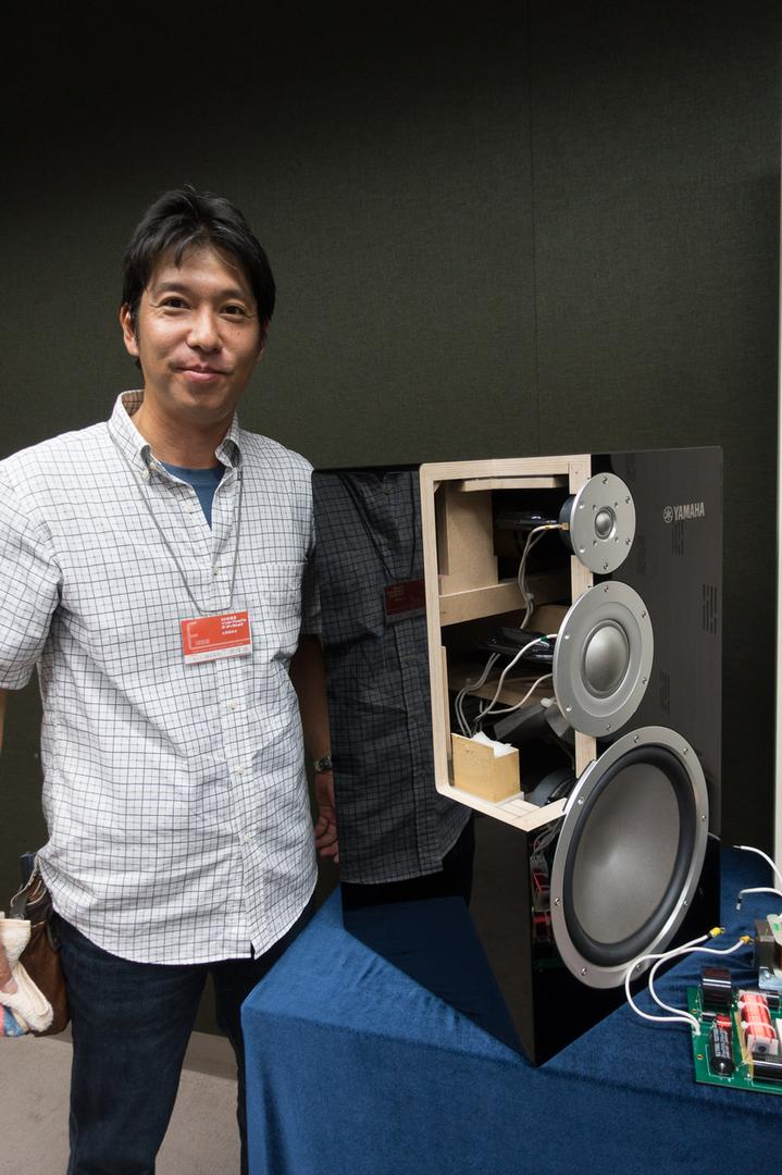 Yamaha's Susumu Kumazawa with the new NS-5000 speaker.