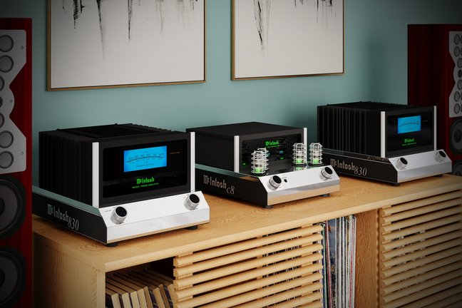 McIntosh C8 vacuum-tube preamplifier and MC830 solid-state power amplifier